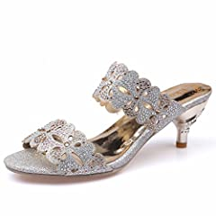 466848e6e0127 ... Womens Sandals Rhinestone Cut-Outs High Heel Sandals Casual S ... by  Genepeg ... Genepeg Womans Sandals Rhinestones Chains Thong Gladiator  Crystal Flat ...