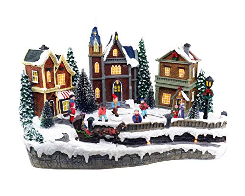 Large Christmas Houses Snow Village with Iceskating Rink | Lighted Christmas Village | Perfect Addition to Your Christmas Indoor Decorations & Christmas Village Displays