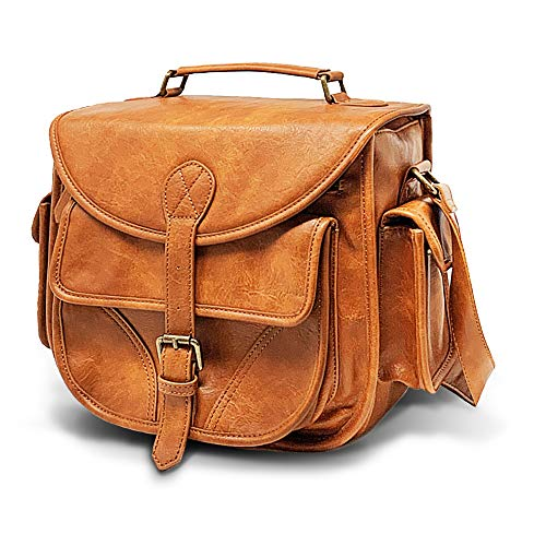 DSLR Leather Camera Bag – Travel Vintage Crossbody Shoulder Bag with Removable Insert – Fits Standard Size DSLR with Lens