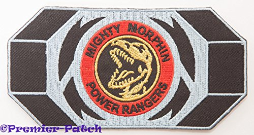 Black Dino Thunder Power Ranger Costume (Mighty Morphin Power Rangers Embroidered Iron on Patch / Red Ranger Morpher Belt Buckle Badge Applique Costume Fancy Dress)