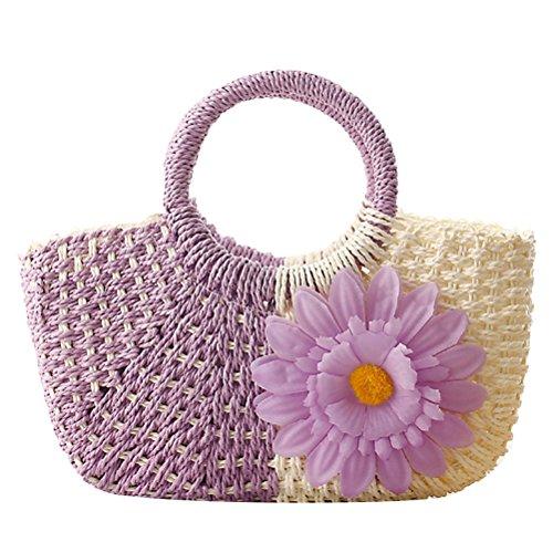 Zhuhaitf Beach Garden Grass Color Style Stitching Sunflower Hot Quality Handbags ventes Bags Womens Flowers High Woven rWCSr6p