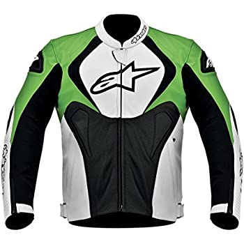 Alpinestars Jaws Perforated Leather Mens Riding Jacket (Black/White/Green, ...