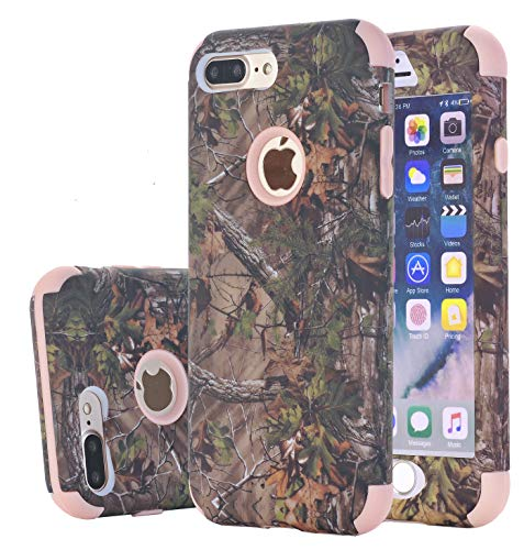 Kecko Dual Layer Defender Tough Hybrid Armor Camouflage Tree Shockproof High Impact Resistant Heavy Duty Shockproof Cover Case for Apple iPhone 7/8 Plus (Rose Gold)