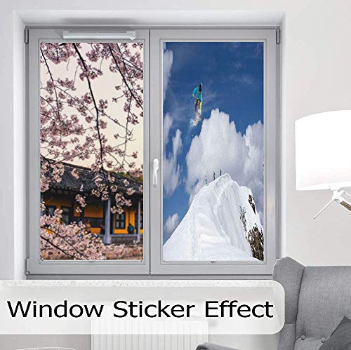(ALUON Privacy Frosted Decorative Vinyl Decal Window Film,Winter,for Bathroom, Kitchen, Home, Easy to Install,Flying Snowboarder on The Mountaintop with Cloudy Sky,24''x48'')