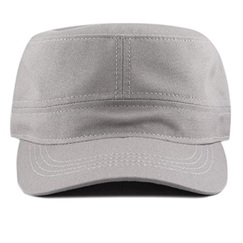 (THE HAT DEPOT Made in USA Cotton Twill Military Caps Cadet Army Caps (Grey))