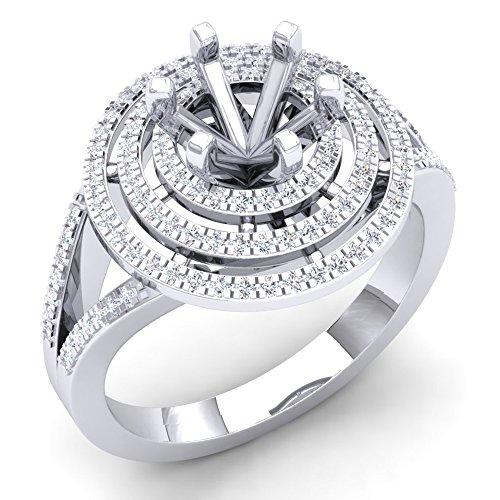 0.35 Carat (Ctw) 10K White Gold Round White Diamond Semi Mount Bridal Engagement Ring 1/3 CT (Size (Diamond Bridal Engagement Semi Mount)