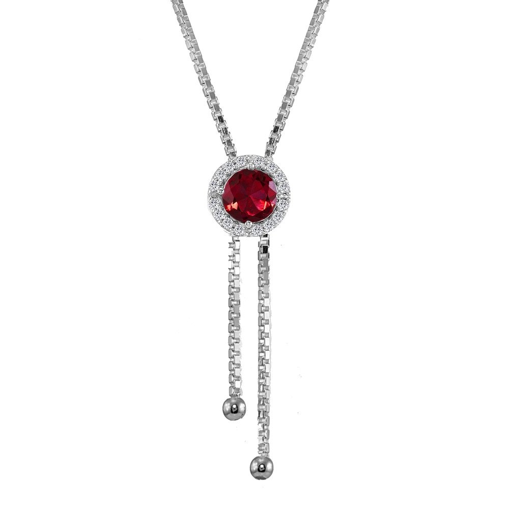 Sterling Silver Created Ruby and White Topaz Round Halo Drop Adjustable Lariat Necklace