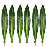 Warmter 10 PCS Fake Faux Artificial Tropical Leaves Green Single Leaf for Home Kitchen Party Decorations (Dark green)