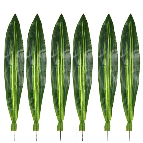 Warmter 10 PCS Fake Faux Artificial Tropical Leaves Green Single Leaf for Home Kitchen Party Decorations (Dark Green) ()