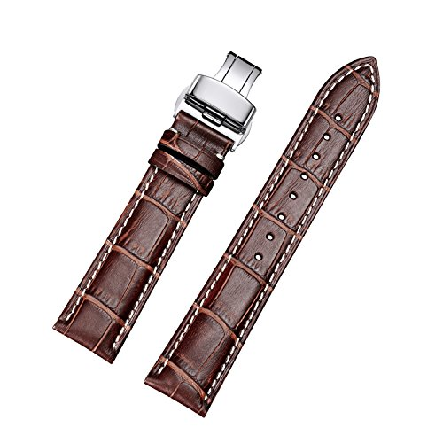EHHE ZPF Calfskin Replacement Leather Watch Bands with Deployment Buckle for Men and Women 18mm-24mm