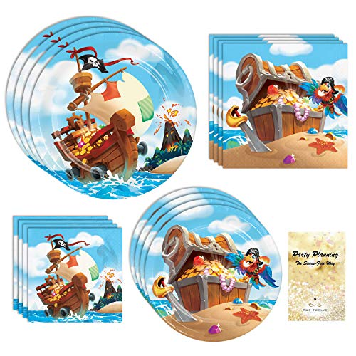 Pirate Party Supplies, Treasure Island Design, 16 Guests, 65 Pieces, Disposable Paper Dinnerware, Plate and Napkin Set