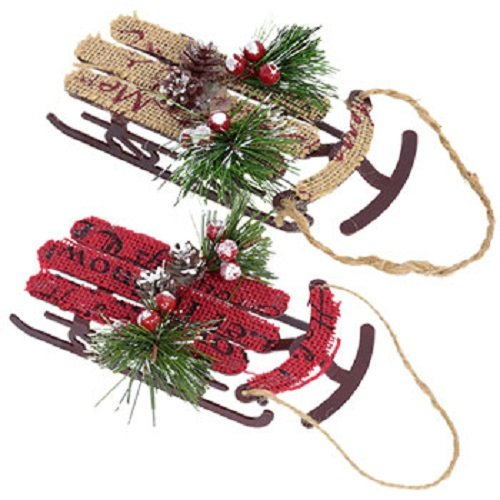 Christmas Sleighs (Set of 2)Country Old Fashioned Xmas Sled Decor - Perfect for Tree Ornaments or Wall Hangings