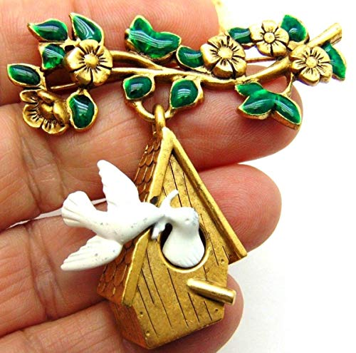 Vintage Signed Peace Dove Pin Bird Birdhouse Tree Brooch Pin Brooches for Women