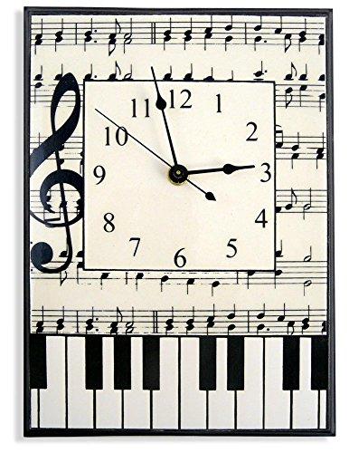 (Modern Artisans Music Notes and Piano Keys Ceramic Art Wall Clock, 7.5