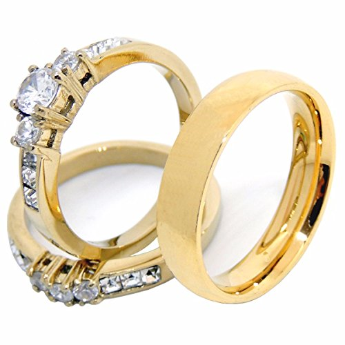 Lanyjewelry His Hers Couples Rings Set 14K Gold Plated Small Round CZ Wedding Ring Set Mens Matching Band - Size W6M10