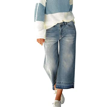 LeeMon Pantalones Vaqueros Anchos para Mujer, Pantalones ...