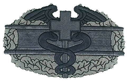 US ARMY COMBAT MEDIC BADGE CMB PATCH - Sculpted Cutout Silver Color - Veteran Owned Business