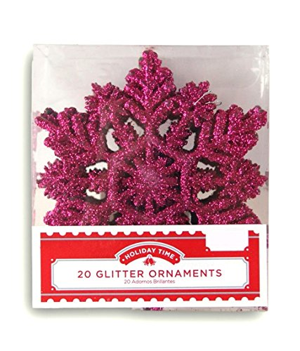 Holiday Time Glittery Snowflake Christmas Ornaments - 20 Count -