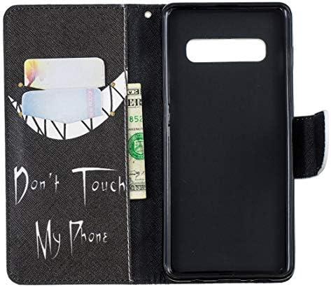 あなたの携帯電話を保護する ホルダー&カードスロット&財布付きサムスンギャラクシーS10プラスのための着色された描画パターン水平フリップレザーケース、 (パターン : Smirk)