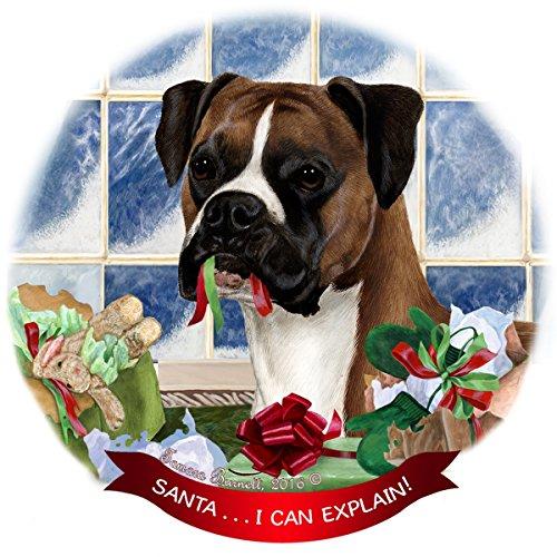 Fawn Boxer Dog Porcelain Hanging Ornament Pet Gift 'Santa.. I Can Explain!'
