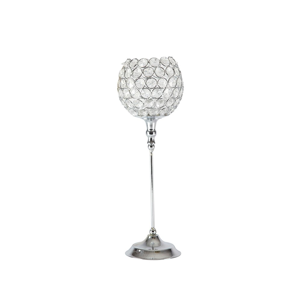 Globe Crystal Candle Holder - Silver - 14 x 43cm Smithers Oasis