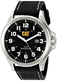 CAT WATCHES Men's 'Operator Date' Quartz Stainless Steel and Leather Watch, Color:Black (Model: PU14134111)