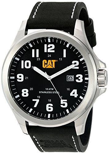 CAT WATCHES Men's 'Operator Date' Quartz Stainless Steel and Leather Watch, Color:Black (Model: PU14134111) by CAT WATCHES