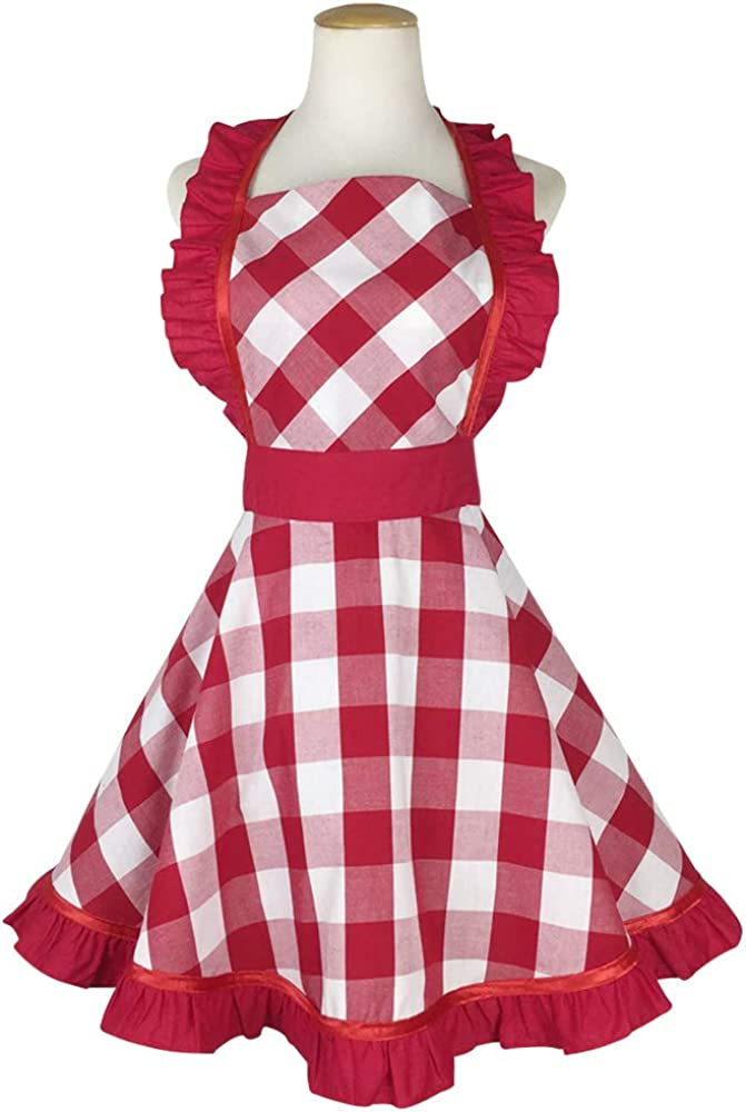 Floosum 50's Style Retro Aprons Ruffle Side Cake Cooking Apron with Pocket Gift for Women Girls