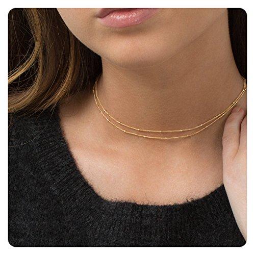 Fremttly Women Handmade 14k Gold Fill Mini Beads Layered Choker Necklace-CK3-2Bead
