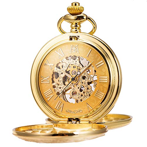 ManChDa Mechanical Roman Numerals Dial Skeleton Pocket Watches with Gift Box and Chains for Mens Women (Cowboys Watches Ladies)