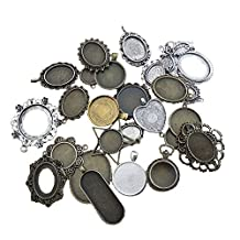 GraceAngie 20PCS Mixed Pictures,Frames ,Colors Alloy Cameo Setting 20-65mm Jewelry Making DIY Pendant Charms