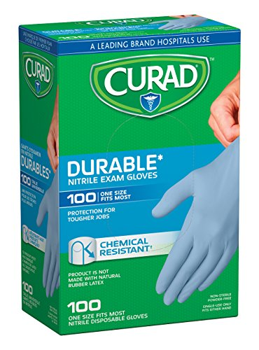 Curad Nitrile Disposable Exam Gloves, Durable and Chemical Resistant, Powder Free, One Size Fits Most (Pack of 10), Great for medical use, first aid, cleaning, pet care
