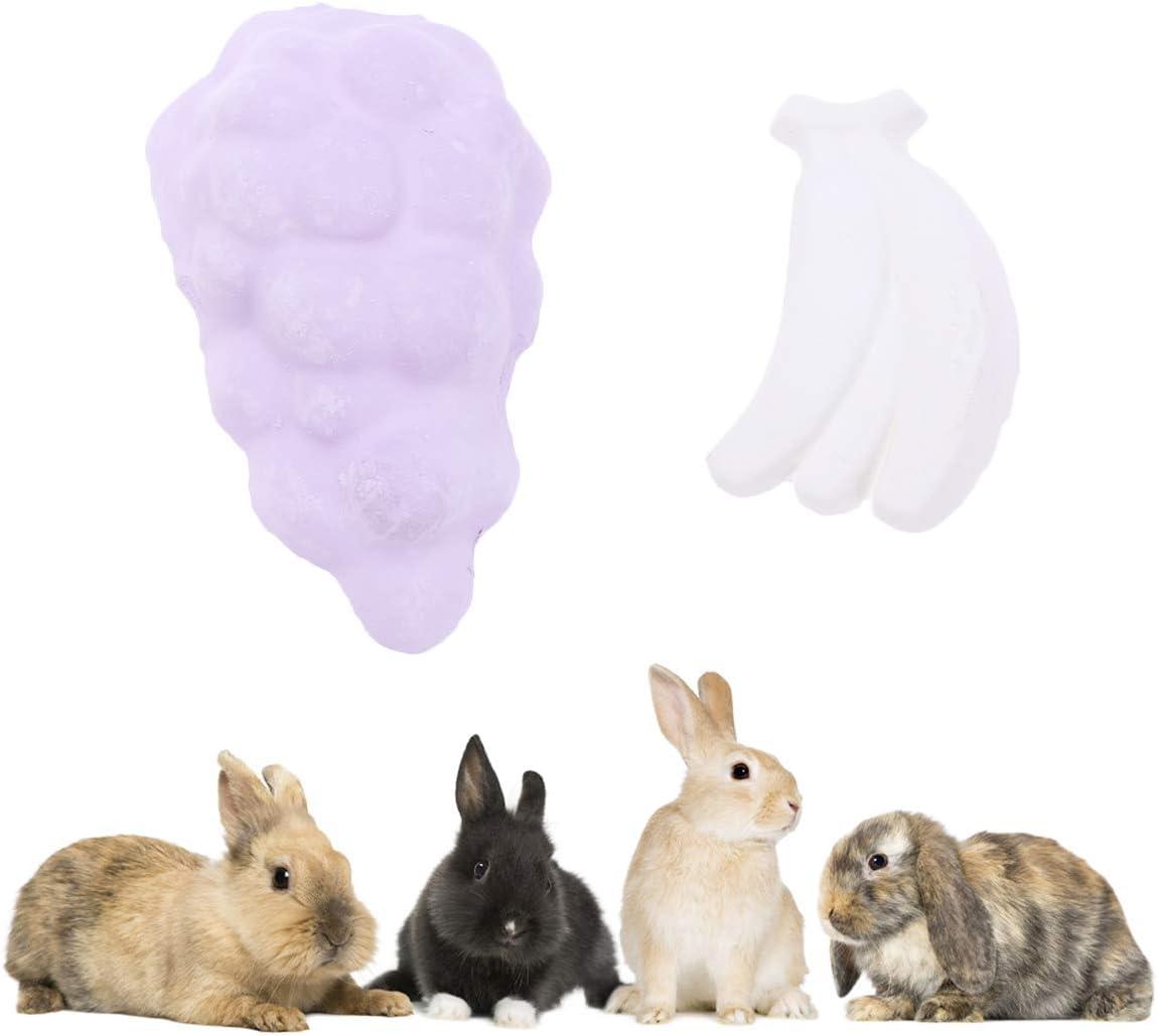POPETPOP 2 Piezas Chinchilla Repisas-Lava Dientes de repisa Muela Piedra Mineral para hámsters Conejos Ratas Ratón Ardillas Mastica Juguetes (Forma de Fruta: Bananas UVA)
