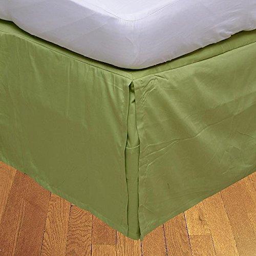 LaxLinens 350 fils cm², 100%  coton, finition élégante 1 jupe plissée de chute lit Longueur    21  ) Motif petite Taille unique longue Vert sauge solide