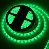 MEILI Waterproof Led Light Strip, 12V 16.4ft 300 Units SMD 3528 Leds Flexible Led Strip (Power Adapter is Not Included), Green
