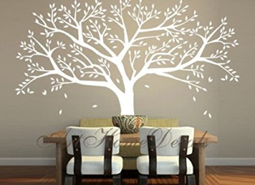 Tree Wall Decals Large White Vinyl Wall Stickers For Living Room Part 53
