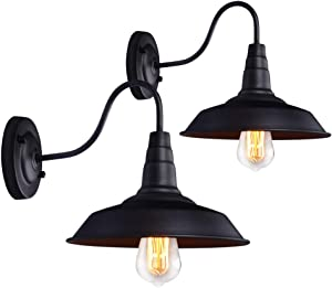 PUMING 2 Pack Black Gooseneck Wall Lamps Industrial Wall Light Fixtures for Bar Office Hallway Home Lighting