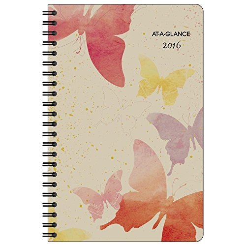 AT-A-GLANCE Weekly / Monthly Planner 2017, Recycled, 5.5 x 8.5 Inches, Watercolors (791200G) by AT-A-GLANCE