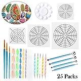 Mandala Dotting Tools for Painting Rocks, Includes Mandala Stencil, Mandala Dotting Pen, Paint Tray,Brush and Modeling Tools for Painting Rocks Pen Dotting Tools Kids' Crafts 25Pcs