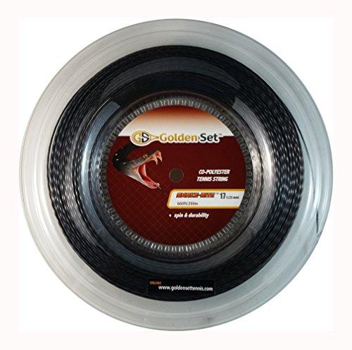 Golden Set Tennis Snake-Bite Max Spin Polyester Tennis String (Black, 17 Gauge Reel (660ft/200m))
