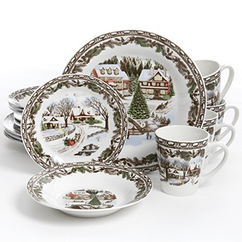 Gibson Home Christmas Toile 16 Piece Dinnerware Set, Green ()