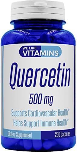 Quercetin 500mg 200 Capsules (Non GMO & Gluten Free) Natural Antihistamine Quercetin Supplement