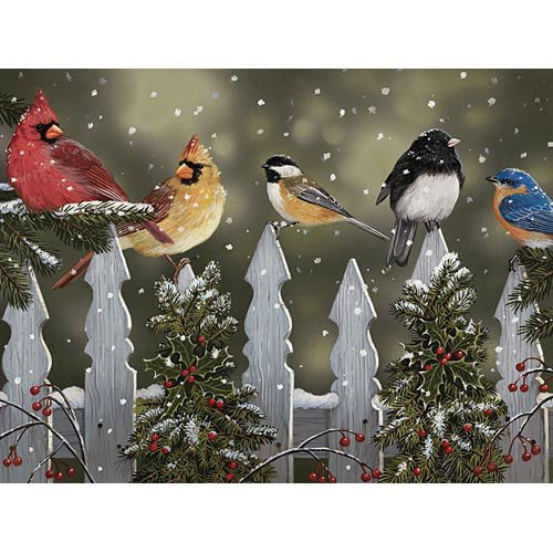 (Bits and Pieces - 300 Large Piece Jigsaw Puzzle for Adults - Winter Perch, Birds in The Snow - by Artist William Vanderdasson - 300 pc Jigsaw)