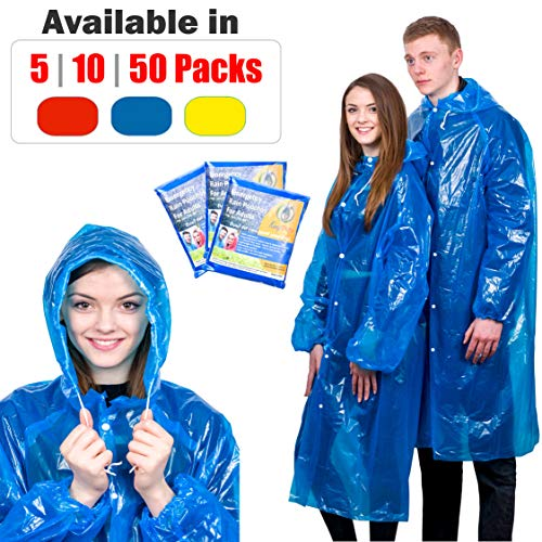 Extra Thick Disposable Emergency Rain Ponchos ~ Premium Quality, Lightweight, Waterproof & Tear Resistant ~ For Hiking, Tours, Sightseeing, Theme Parks, Festivals & More by -