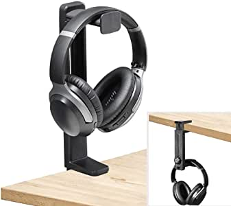 Neetto HS906 Headphone Stand and Hanger 2 in 1, Black Desk Earphone Holder Mount Hook Rack with Height Adjustable, Gaming Headset Display with 360 Degree Rotating, Fancy Music Studio Accessories