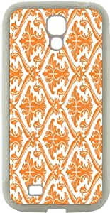Rikki KnightTM Orange Damask Design Design Samsung? Galaxy S4 Case Cover (White Hard Rubber TPU with Bumper Protection) for Samsung Galaxy S4 i9500