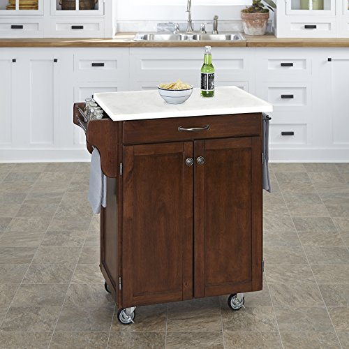 Home Styles 9001-0710 Cuisine Cart, Rustic Cherry - Kitchen Island Marble
