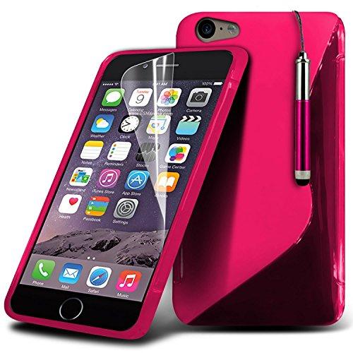 i-Tronixs (Pink) <b>      Apple iPhone 6S Hülle Tasche Schutzhüllel     </ b>     Case Premium Quality S zeichnen Wellen-Gel-Kasten-Haut-Abdeckung mit LCD-Display Schutzfolie, Poliertuch und Mini-versenkbaren Styl