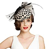 FADVES 100% Australian Wool Pillbox Hat Black Veil Fedora Lepoard Print Fascinator