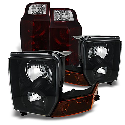 For Jeep Commander SUV SUV Black Headlights Repalcement Pair + Dark Red Tail Lights Combo Pair Set